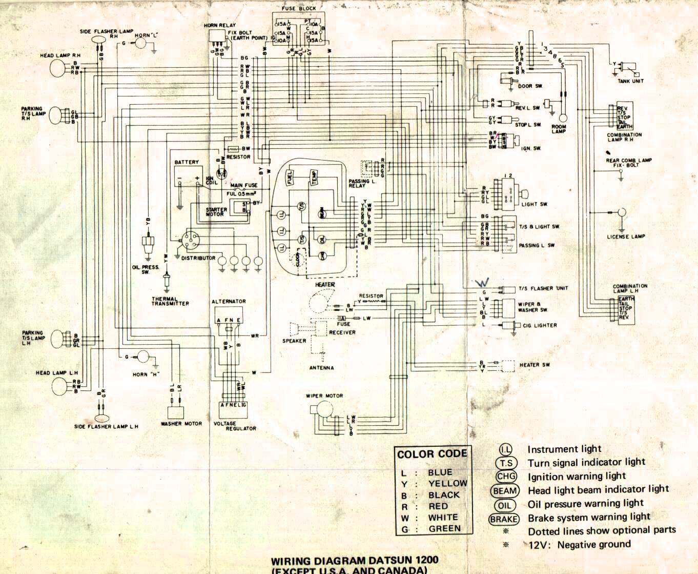Nissan Wiring Diagrams Schematics Datsun 1200 Diagram Library Dat110 2